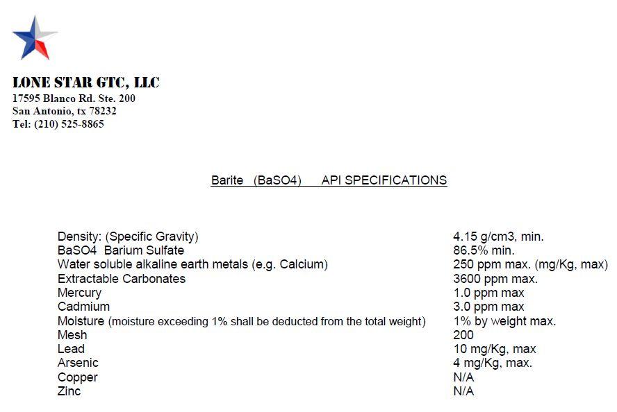 Lone Star Sodium Bentonite and barite