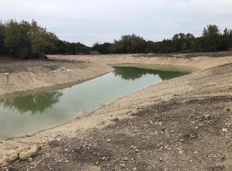 half dry pond without pond sealant