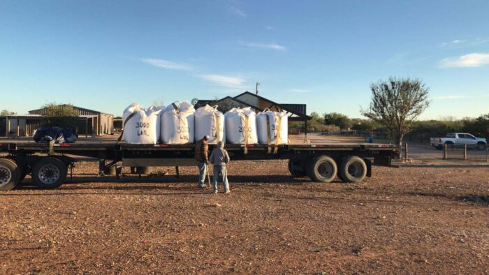 Bentonite super sacks on a truck