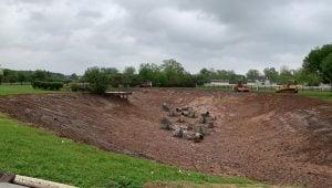 retention pond reshaping